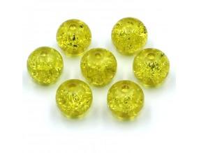 Koraliki szklane Crackle 8mm żółte 14 szt.