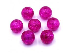 Koraliki szklane Crackle 8mm różowe ciemne 14 szt.