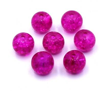 Koraliki szklane Crackle 8mm różowe ciemnye 14 szt.