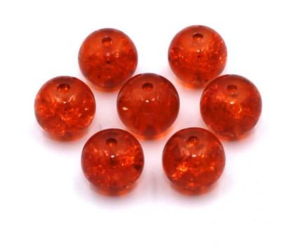 Koraliki szklane Crackle 8mm pomarańczowe 14 szt.