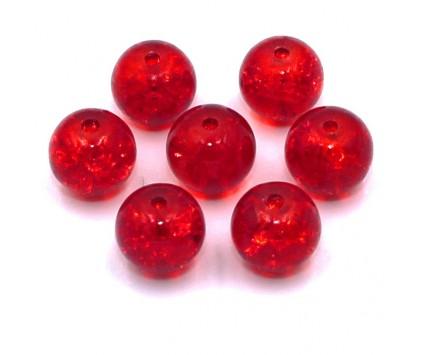KORALIKI SZKLANE Crackle 8mm czerwone 14 szt.