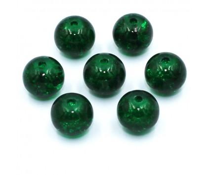 KORALIKI SZKLANE Crackle 8mm zielone c. 14 sztuk