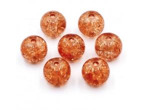 Koraliki szklane Crackle 8mm pomarańczowe jasne 14 szt.