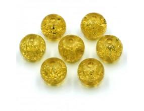 Koraliki szklane Crackle 8mm złoty 14 szt