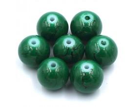 Koraliki szklane powlekane Nici 10mm 8szt ziel.
