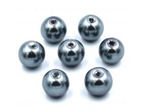 PERŁY SZKLANE perła szklana 8mm srebrne 14szt