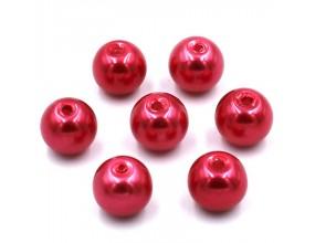 PERŁY SZKLANE perła szklana 8mm czerwone 14szt