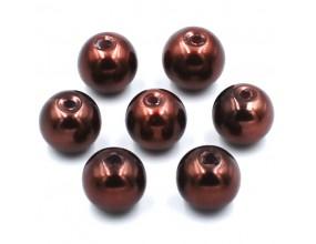 PERŁY SZKLANE perła szklana 8mm brązowe c. 14szt