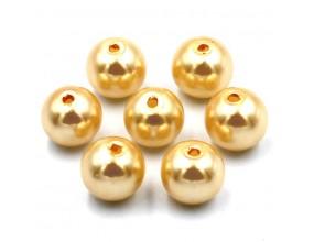 PERŁY SZKLANE perła szklana 8mm złoty j. 14szt