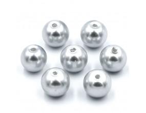 PERŁY SZKLANE perła szklana 8mm siwe jasny 14szt