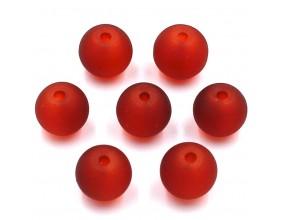 Koraliki mrożone szklane 8mm 20szt czerwone