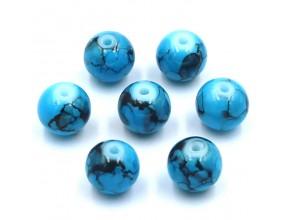 Koraliki szklane powlekane 8mm Marmurki 14szt niebieski