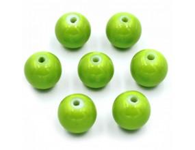 Koraliki szklane powlekane 8mm zielone jasne 14szt