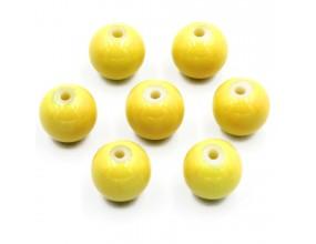 Koraliki szklane powlekane 8mm żółte 14szt