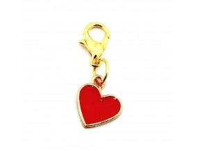 Zawieszka do bransoletek charms serce emalia czerwone