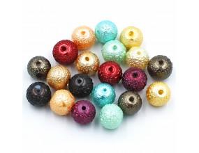 Koraliki perły szklane gniecione 8mm 20szt mix