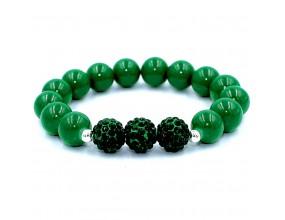 Bransoletka koraliki szklane 10mm shamballa zielona