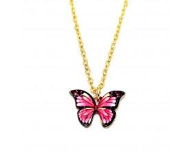 Naszyjnik łańcuszek k. złoty motyl różowy prezent