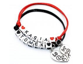 Komplet bransoletek dla par imie napis Walentynki