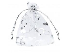 Organza woreczek z ogranzy opakowania na święta  12x10 Biały, srebrny