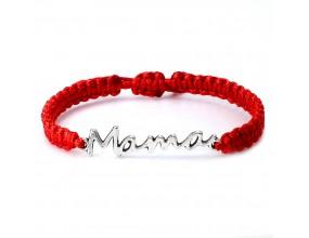 Bransoletka MAMA Dzień Matki Makrama Prezent Czerwony
