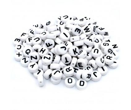 Koraliki Litery Alfabet Literki 7mm 20szt MIX