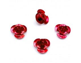Koraliki różyczki aluminiowe czerwone