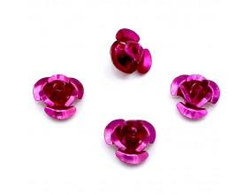 Koraliki różyczki aluminiowe różowe ciemne