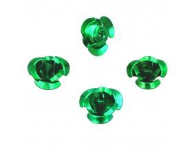 Koraliki różyczki aluminiowe zielone