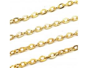 Łańcuszek do biżuterii 3x4x0.5mm 1metr k. złoty
