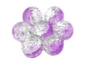 Koraliki szklane crackle 10mm 10szt fioletowo-szare