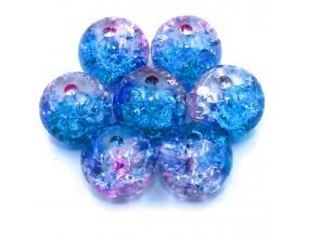Koraliki szklane crackle 10mm 10szt niebiesko-różowe